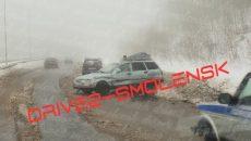 Три машины попали в жёсткую аварию на Московском шоссе в Смоленске
