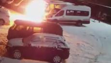 В Смоленске поджог маршрутки на охраняемой парковке сняли на видео