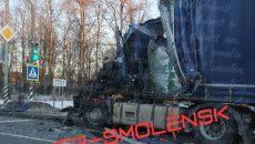 На М-1 под Смоленском столкнулись грузовики. Есть пострадавший