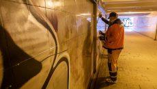 В Смоленске приступили к очистке подземного перехода от граффити