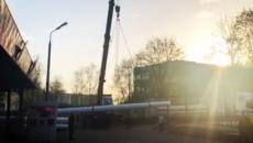 В Смоленске работы по установке колеса обозрения сняли на видео