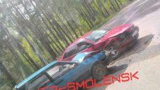 В Смоленске «девятка» протаранила иномарку на шоссе