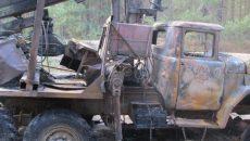 Под Смоленском ночью сгорел лесовоз
