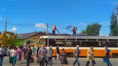 В Смоленске трамвай обесточило возле перекрёстка