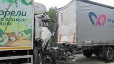 Под Смоленском водителя грузовика госпитализировали после столкновения с фурой