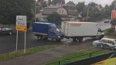 В Смоленске столкнувшиеся грузовики перекрыли половину улицы Свердлова