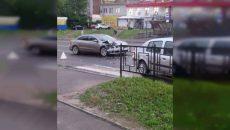 В Смоленске на переходе столкнулись иномарки
