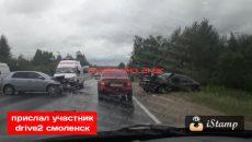 «Скорая на месте». Серьезная авария произошла на выезде из Смоленска