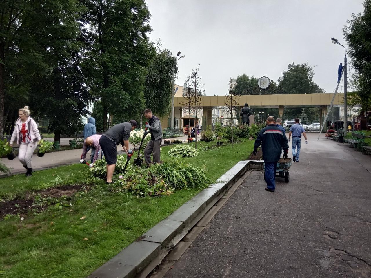сажают деревья Лопатинский сад
