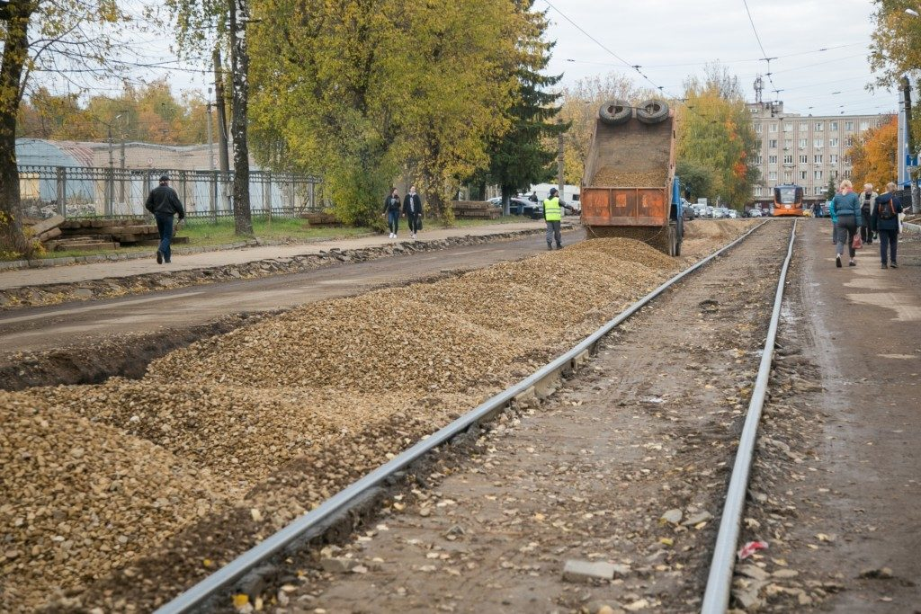 ремонт трамвайный путей, Трамвайный проезд (фото пресс-службы мэрии Смоленска)