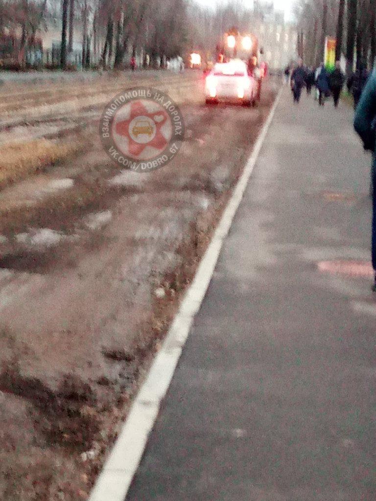 В Смоленске автоледи вступила в борьбу за проезд с трактором