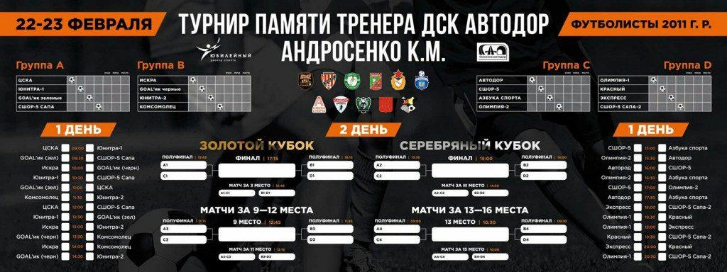 расписание турнира-2020 по мини-футболу памяти тренера ДСК «Автодор» Константина Андросенко