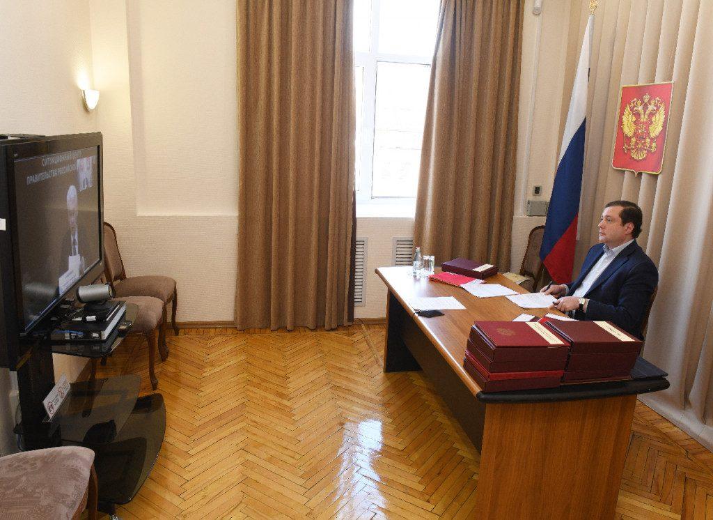 Островский, видеоселектор, рабочая группа Государственного совета по противодействию распространению коронавируса, Собянин (фото admin-smolensk.ru)