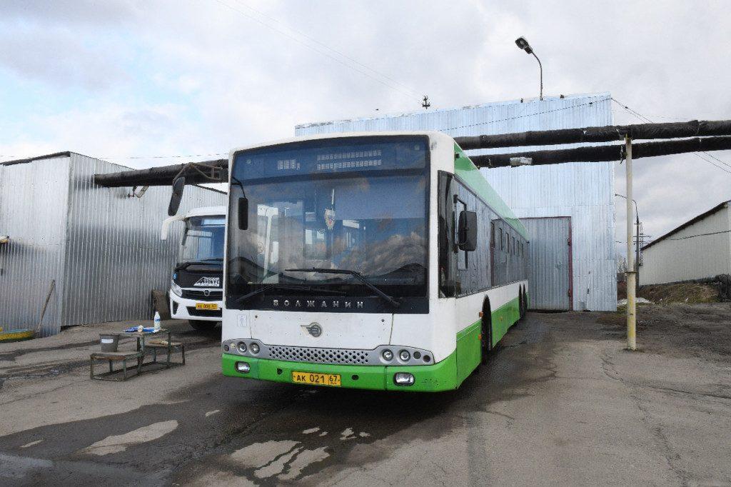 МУП Автоколонна 1308, автобус, Волжанин, дезинфекция, коронавирус (фото admin-smolensk.ru)