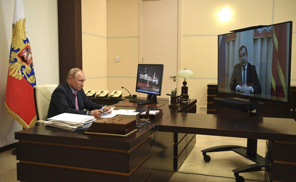 Путин, Островский, рабочая встреча 27.05.2020, видеоселектор (фото пресс-службы президента России)