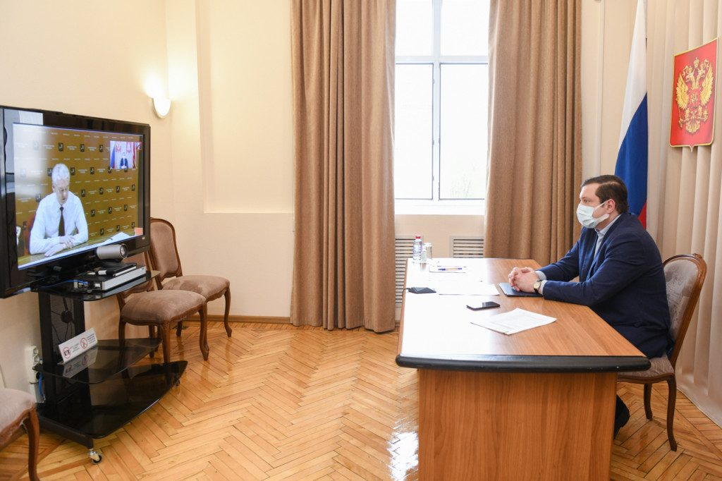 Собянин, Островский, рабочая группа Госсовета, коронавирус, видеоселектор (фото admin-smolensk.ru)