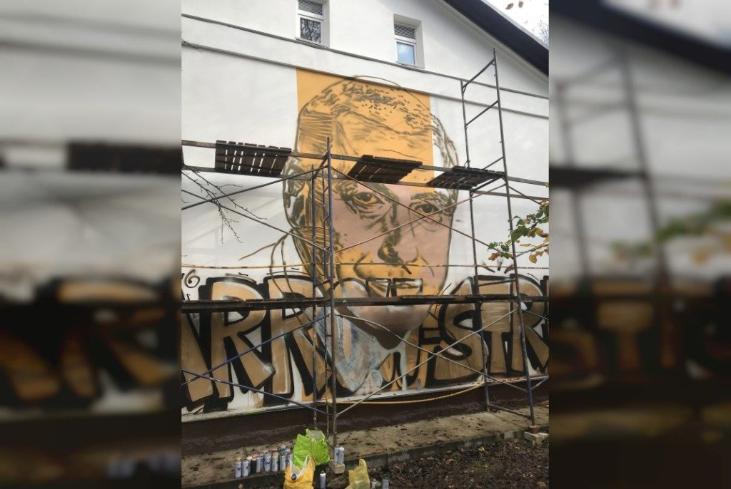 граффити-портрет Анатолия Папанова, октябрь 2020, Смоленск, городок Коминтерна (фото vk.com flash_one)