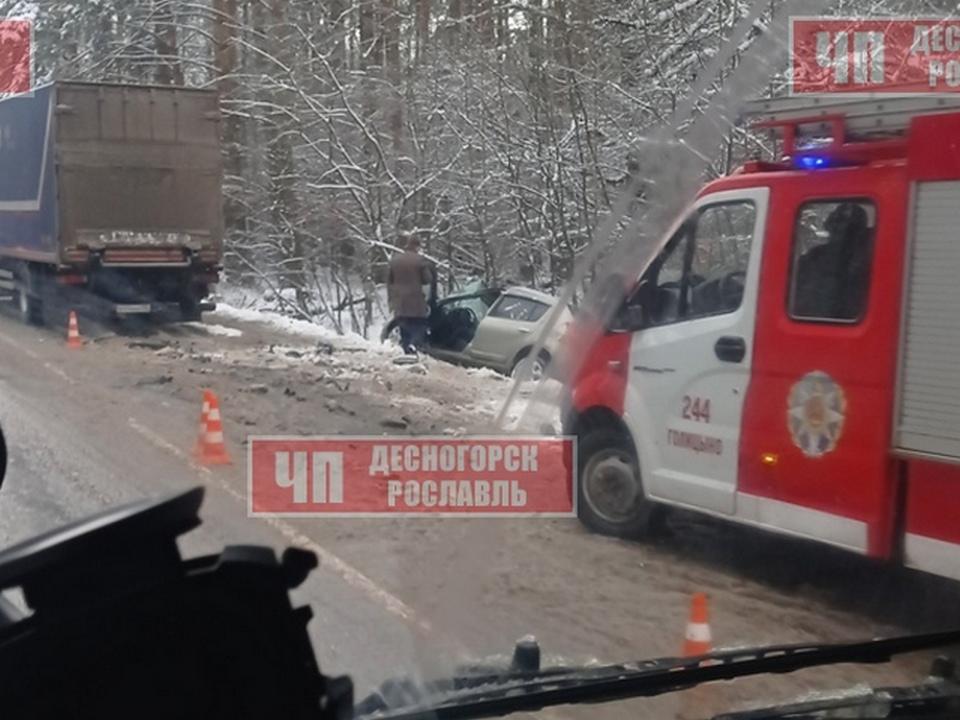 ДТП 26.11.2020, Renault Sandero, почтовый грузовик, Подмосковье, дорога Зайцево - Кокошкино