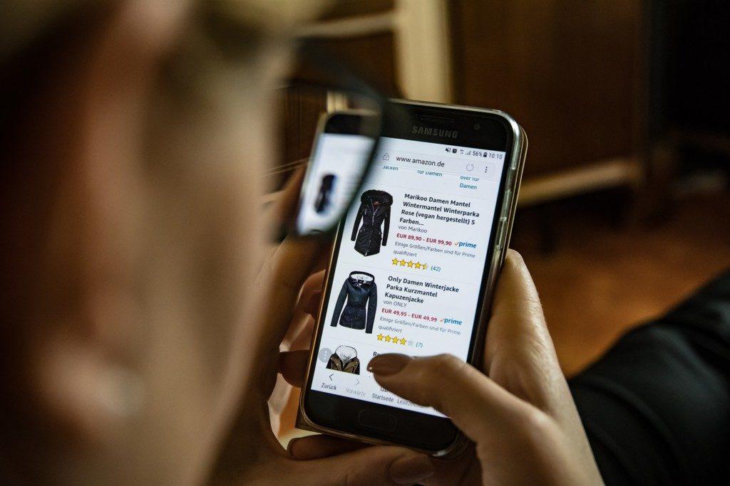 интернет-шоппинг, покупка одежды онлайн, Amazon