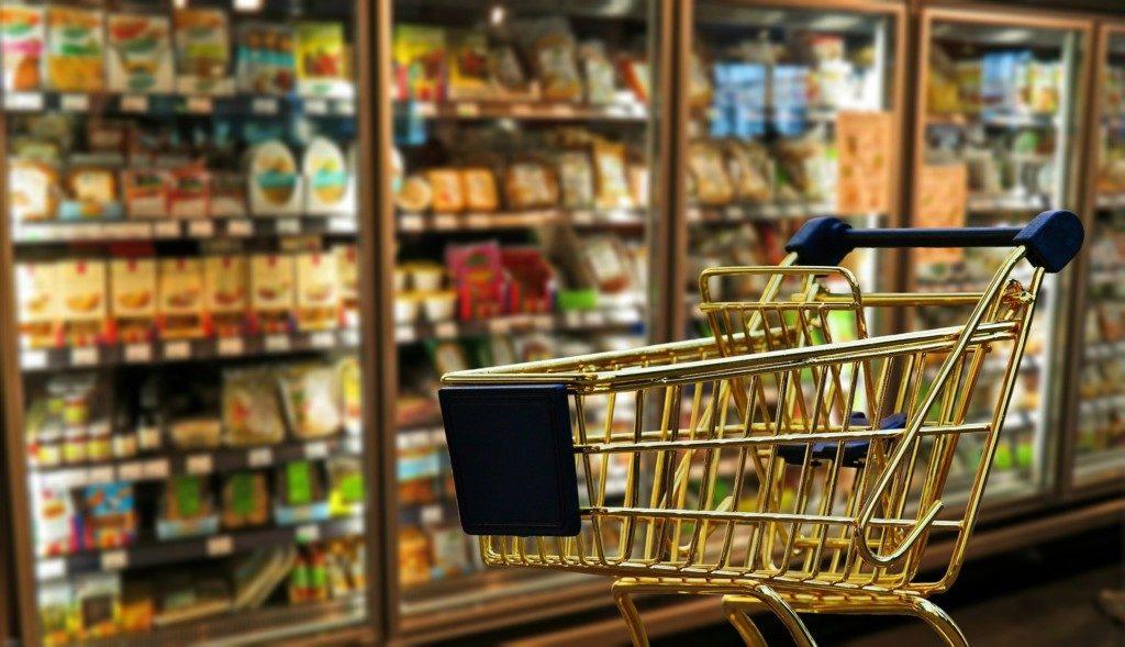 супермаркет, молочные товары, продуктовая корзина, тележка