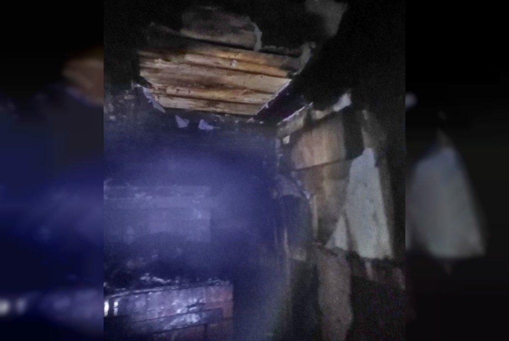 пожар 20.01.2021, Пышково, частный деревянный дом, Гагаринский район (фото 67.mchs.gov.ru)
