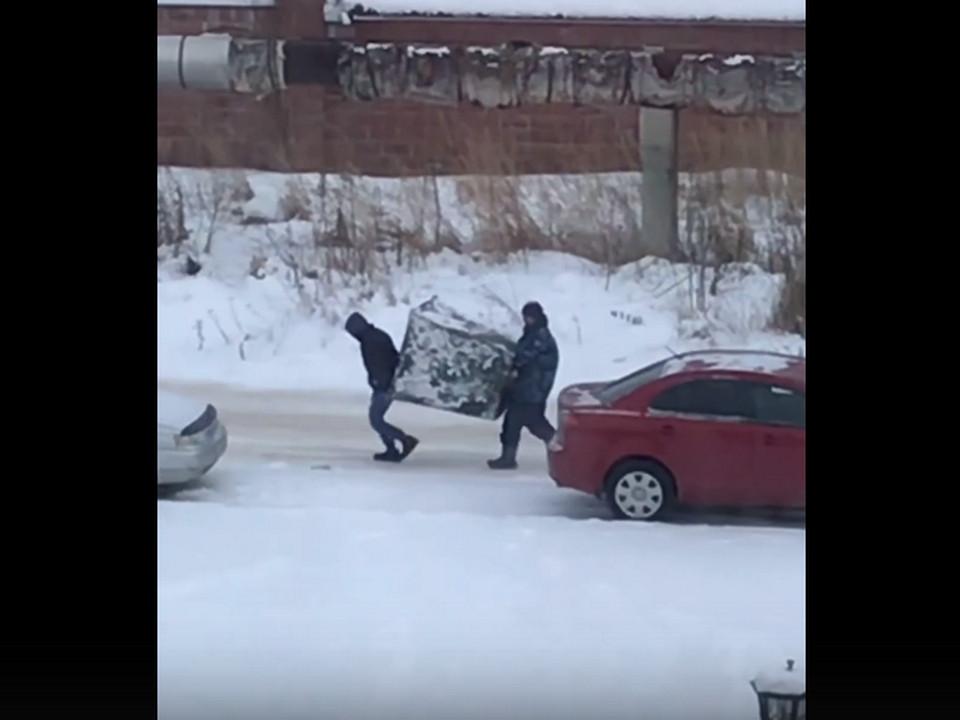 кража мусорного контейнера (кадр видео vk.com id388787398)