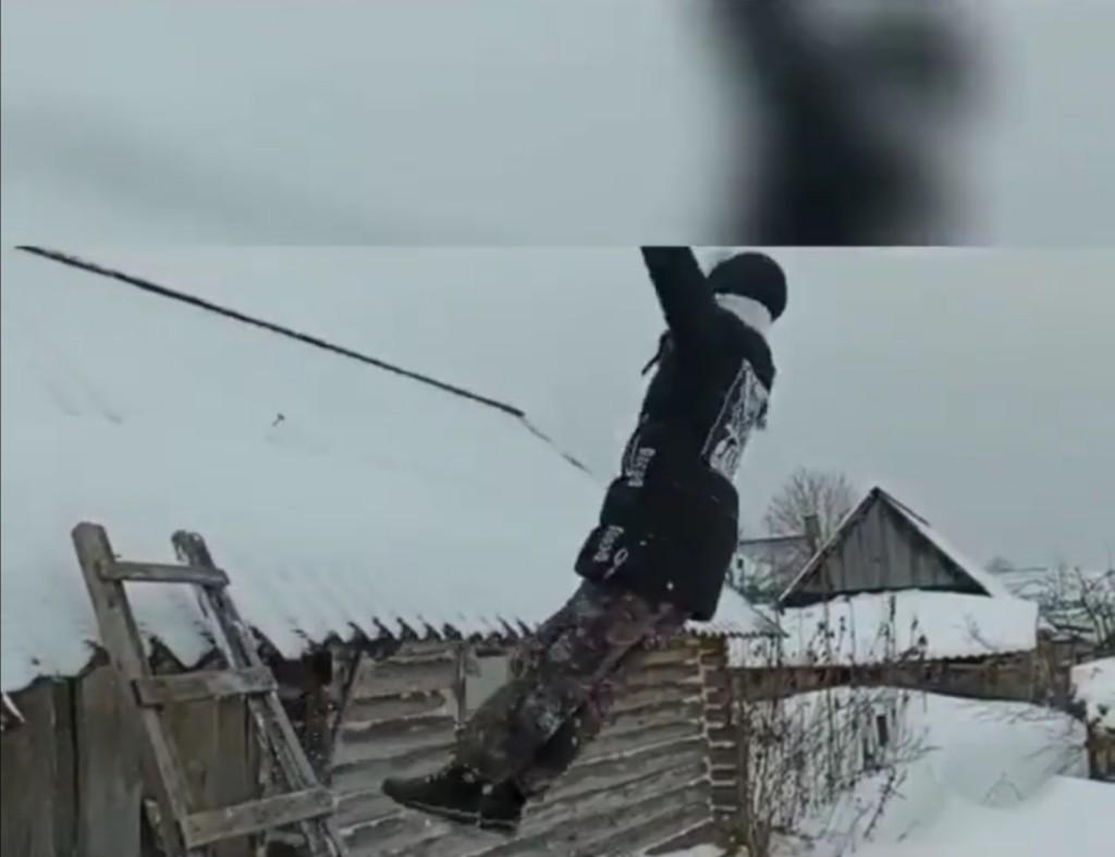 падение в снег