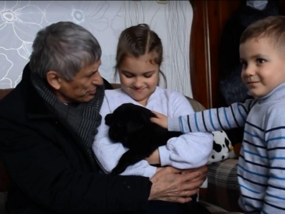 первоклассница Саша из Смоленска, щенок Тибо, прямая линия с Путиным (кадр видео 5-tv.ru)