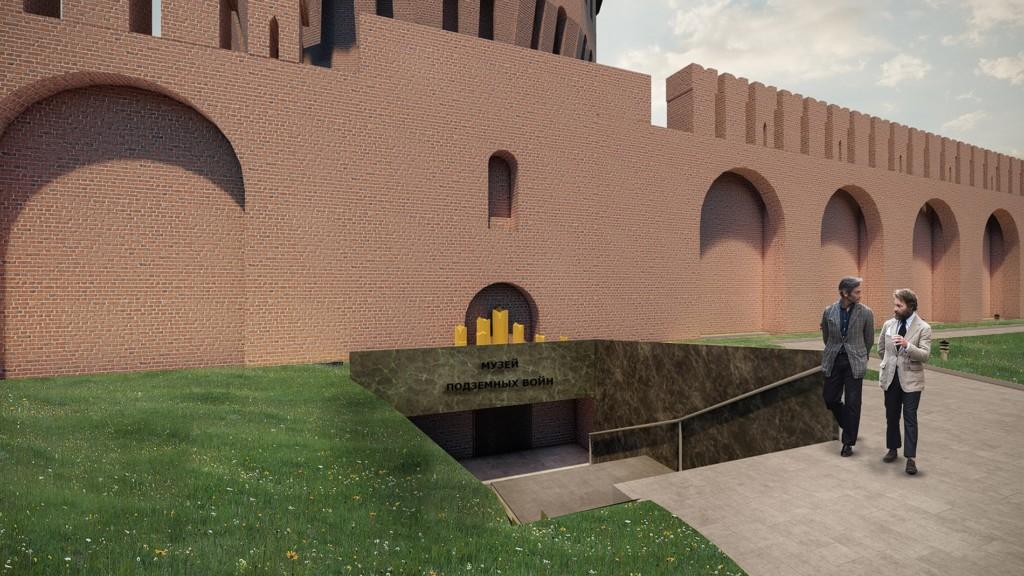 концепция музея подземных войн в Долгочевской башне (иллюстрация smoladmin.ru)