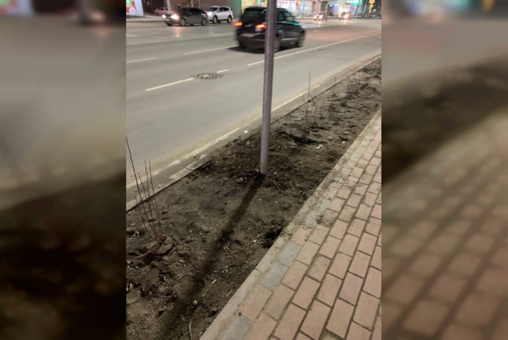 перенесённый знак работы эвакуатора и запрета парковки у рынка на Николаева (фото t.me antidps_smol)