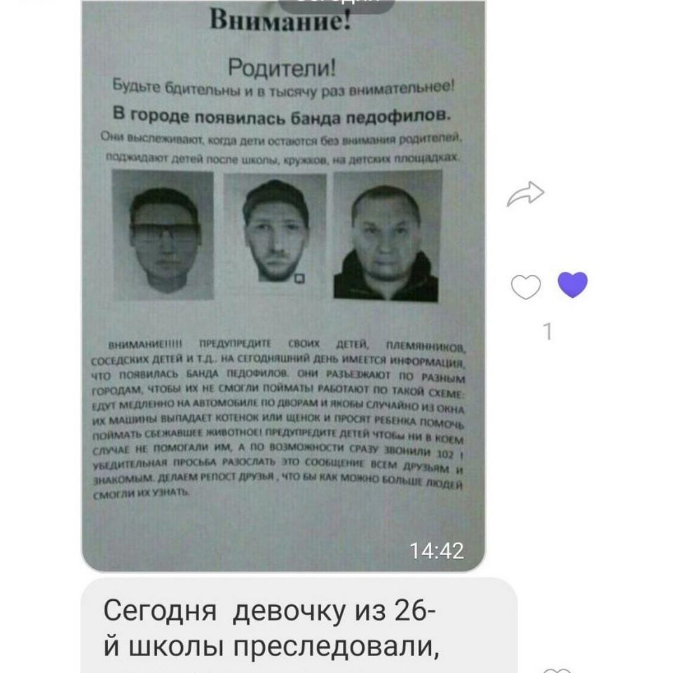 фейк про банду педофилов, нападение на девочку, 26 школа Смоленска