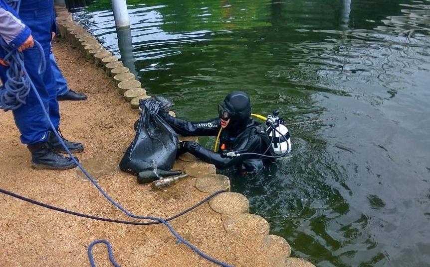 В Смоленске водолазы очистили дно озера в парке «Соловьиная роща»