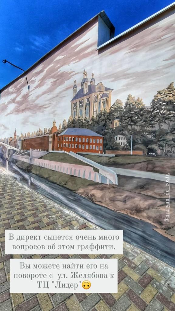 граффити с видом смоленской набережной и собора на стене одного из зданий на улице Желябова (фото instagram.com maryan_de_costa)