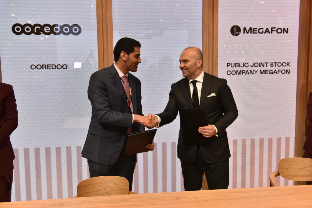 Катар шейх Мохаммед бин Абдулла Аль Тани и Геворк Вермишян, соглашение МегаФон и Ooredoo на ПМЭФ