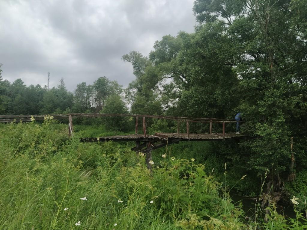 пешеходный мост 30.06.2021 через реку Большая Гжать в гагаринской деревне Алекссеевка