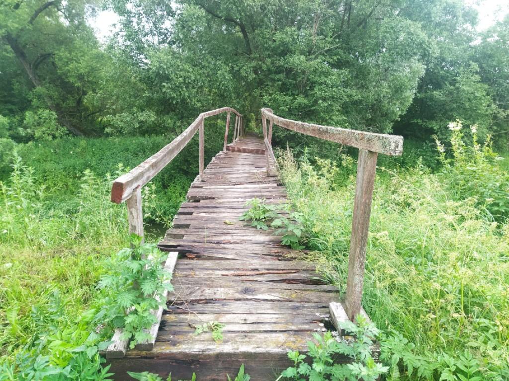 пешеходный мост через реку Большая Гжать в гагаринской деревне Алекссеевка 30.06.2021