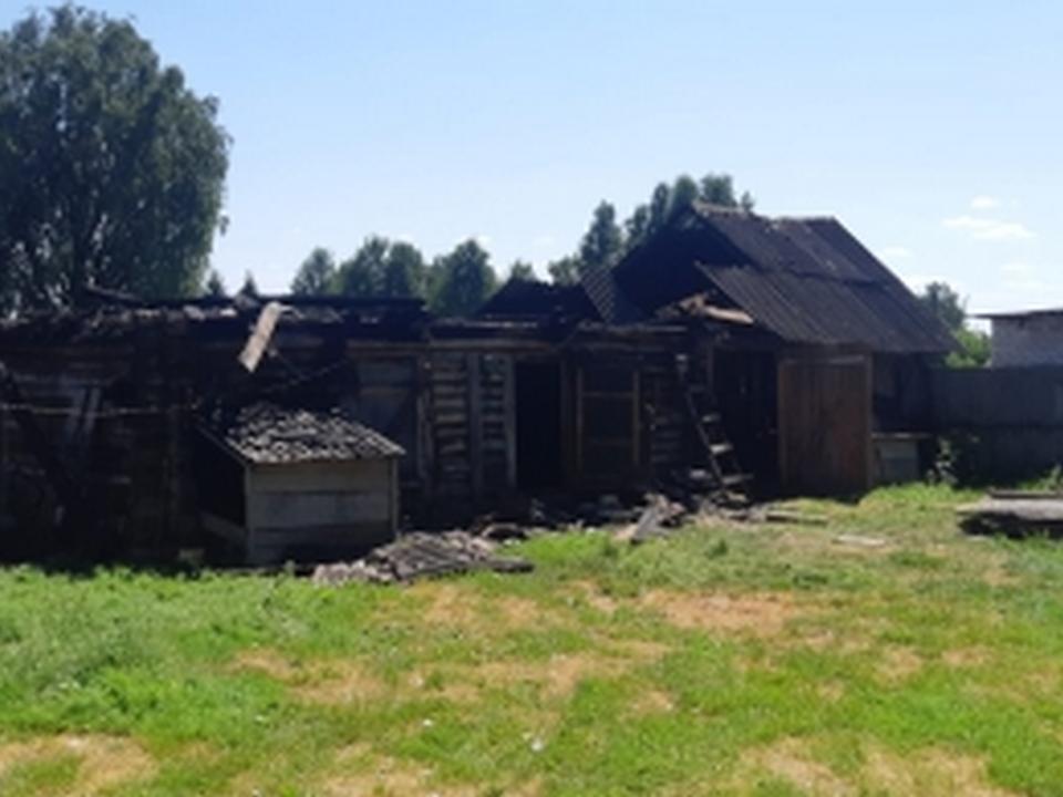 пожар 9.07. Епишово, сарай (фото 67.mchs.gov.ru)
