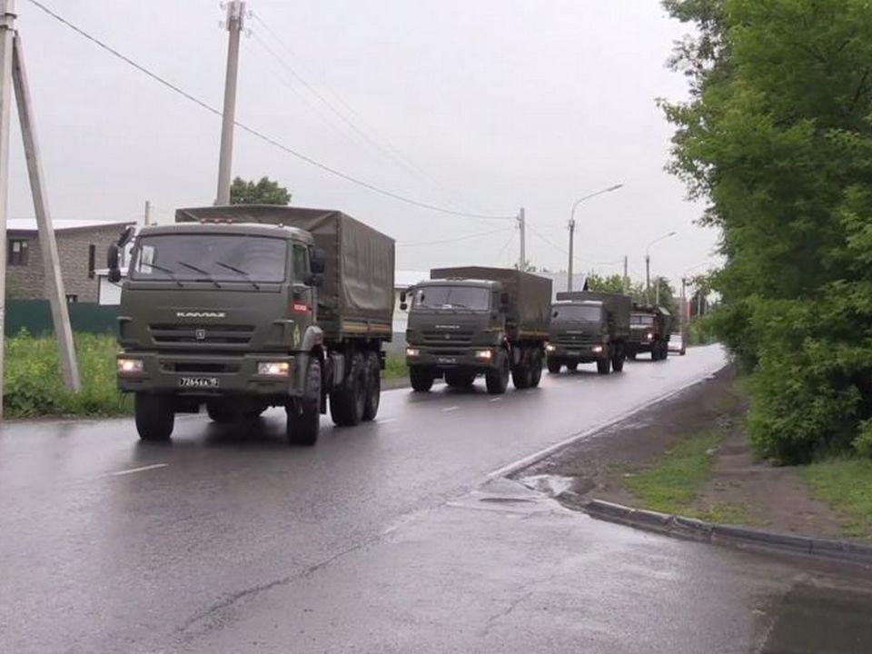 воинская колонна, автобронетехника (фото 67.rosguard.gov.ru)