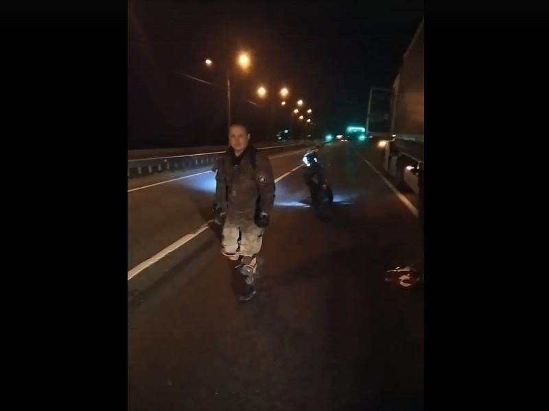 ДТП 7.08.2021, фура, мотоциклист, Р-120, Пригорское (кадр видео vk.com verik_1001)
